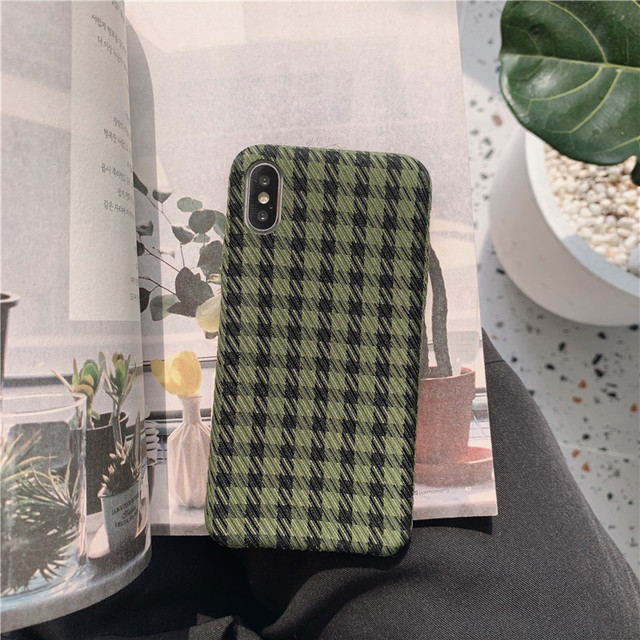 Elegant Plaid Pattern Phone Case For iphone 11 Pro Max XR X 7 8 plus X XS Max Back Cover Fashion Cloth Fabric Cute Soft Cases
