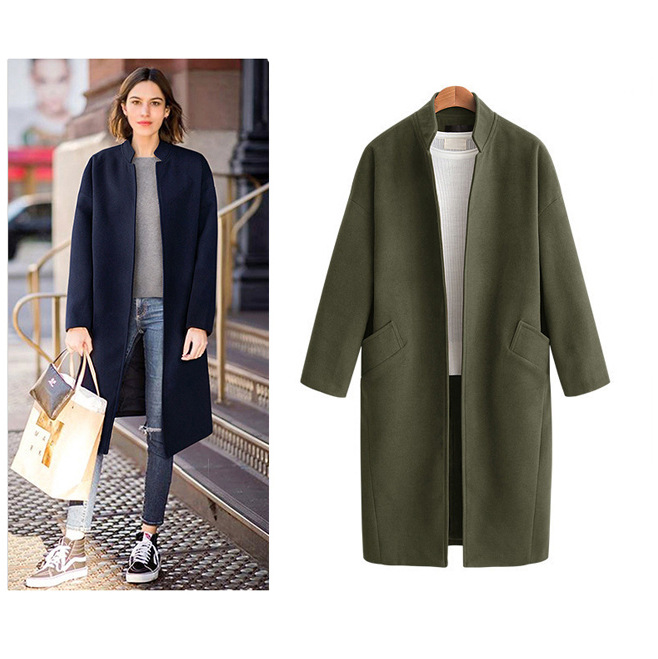 Autumn And Winter New Style Europe And America Large Size Dress Stand Collar Mid-length Woolen Jacket Fat Mm Solid Color Long Sl