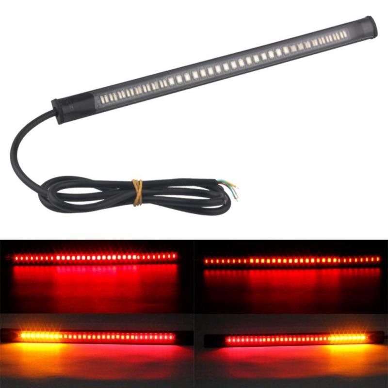1Pcs Motorcycle Flexible 48 LED Brake Turn Signal Light Strip License Plate Tail Lights Off-road Waterproof Motor Brake Lighting