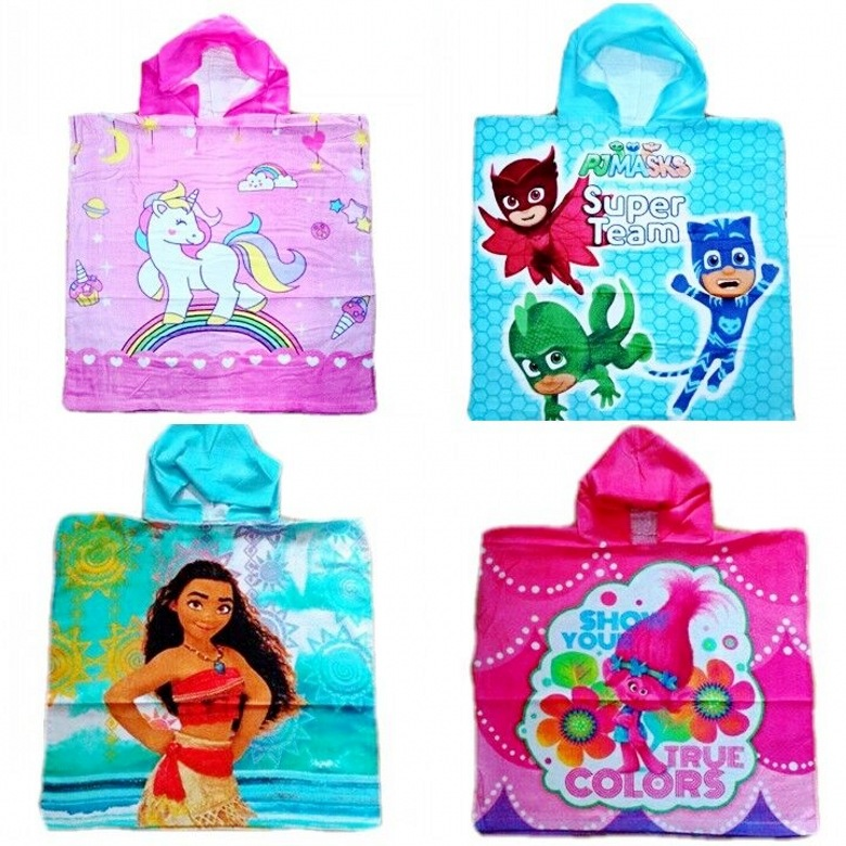 Oceans Romance Cartoon Little Pony Unicorn Children Cotton Cloak Beach Bath Towel Hooded Mantle Bathrobe Large Size