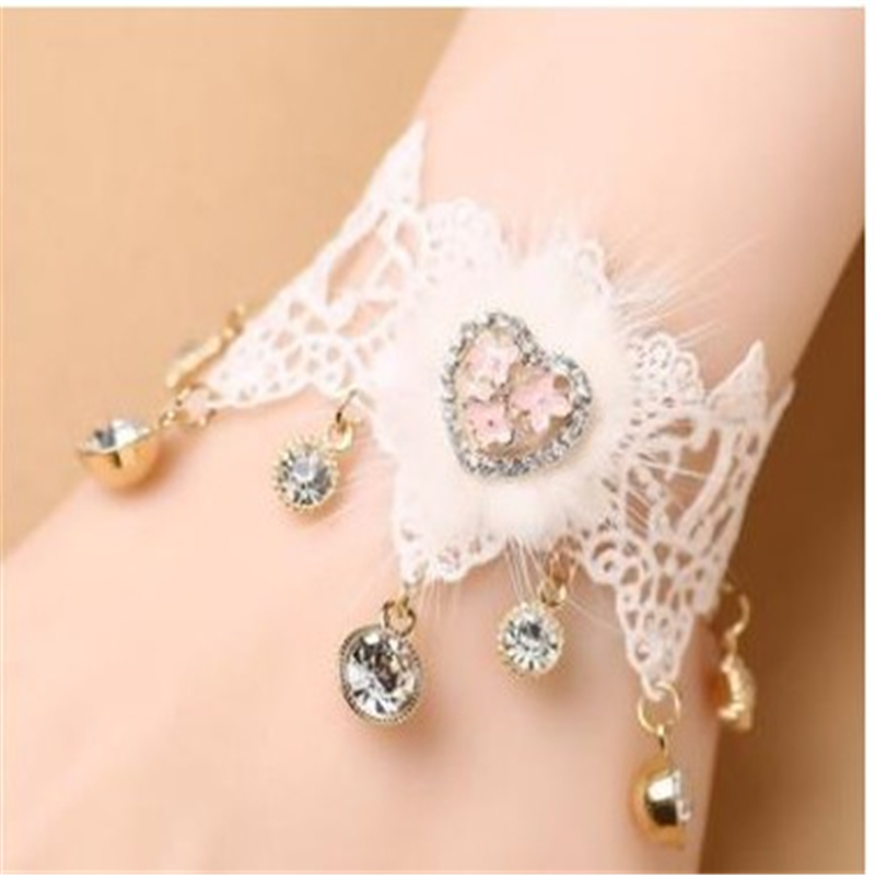 Bridal Lace Gloves for Women Sweet Lace Wedding Gown Accessories Bride Wedding Jewelry Fingerless Gloves Inlaid Rhinestone