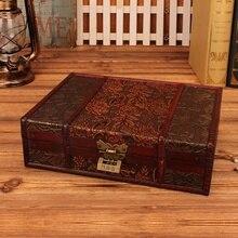 Caja de madera para guardar joyas, regalo de boda Vintage con caja de madera, embalaje, decoración Manual de escritorio