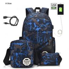 3pcs/set Male backpacks high school bags for women 2021 boys one shoulder big student travel bag men school backpack sac mochila