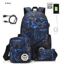 Conjunto de 3 mochilas escolares con USB para hombre y mujer, conjunto de 3 mochilas escolares de un hombro para estudiantes, 2021