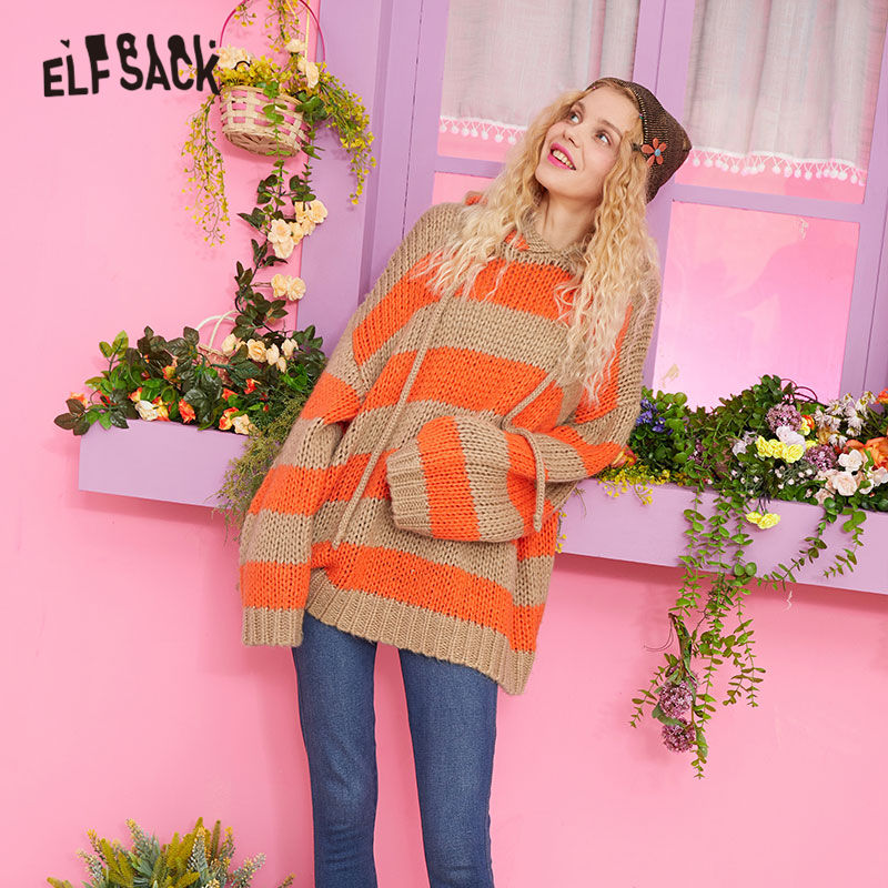 ELFSACK Orange Striped Casual Sweater Winter Clothes Women Knitted Top 2019 Autumn Korean Oversized Ladies Sweaters