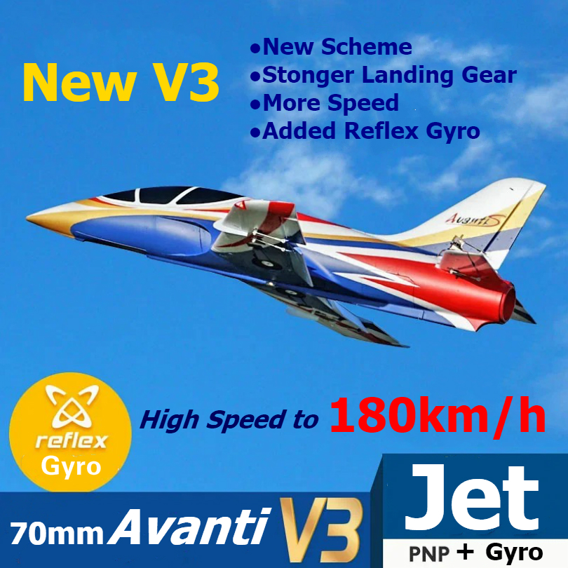 FMS RC Airplane Avanti V3 Blue 70mm Ducted Fan EDF Jet High speed Big Scale Model Plane Aircraft Avion PNP 6S with Retract Flaps image