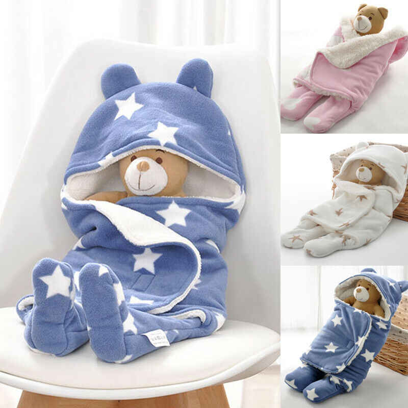 Winter Warm Newborn Baby Sleeping Bags Sleep sack Toddler Infant Cute Plush Cotton Swaddle Wrap Stroller Bed Blanket With Hats