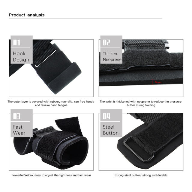 Weight Lifting Hook Grips With Wrist Wraps Hand-Bar Wrist Strap  Gym Fitness Hook Weight Strap Pull-Ups Power Lifting Gloves 6
