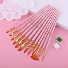 12Pcs Nylonhair Paint Brush Set For Acrylic Painting  Professional Watercolor Brush For Drawing Art Supplies Stationery