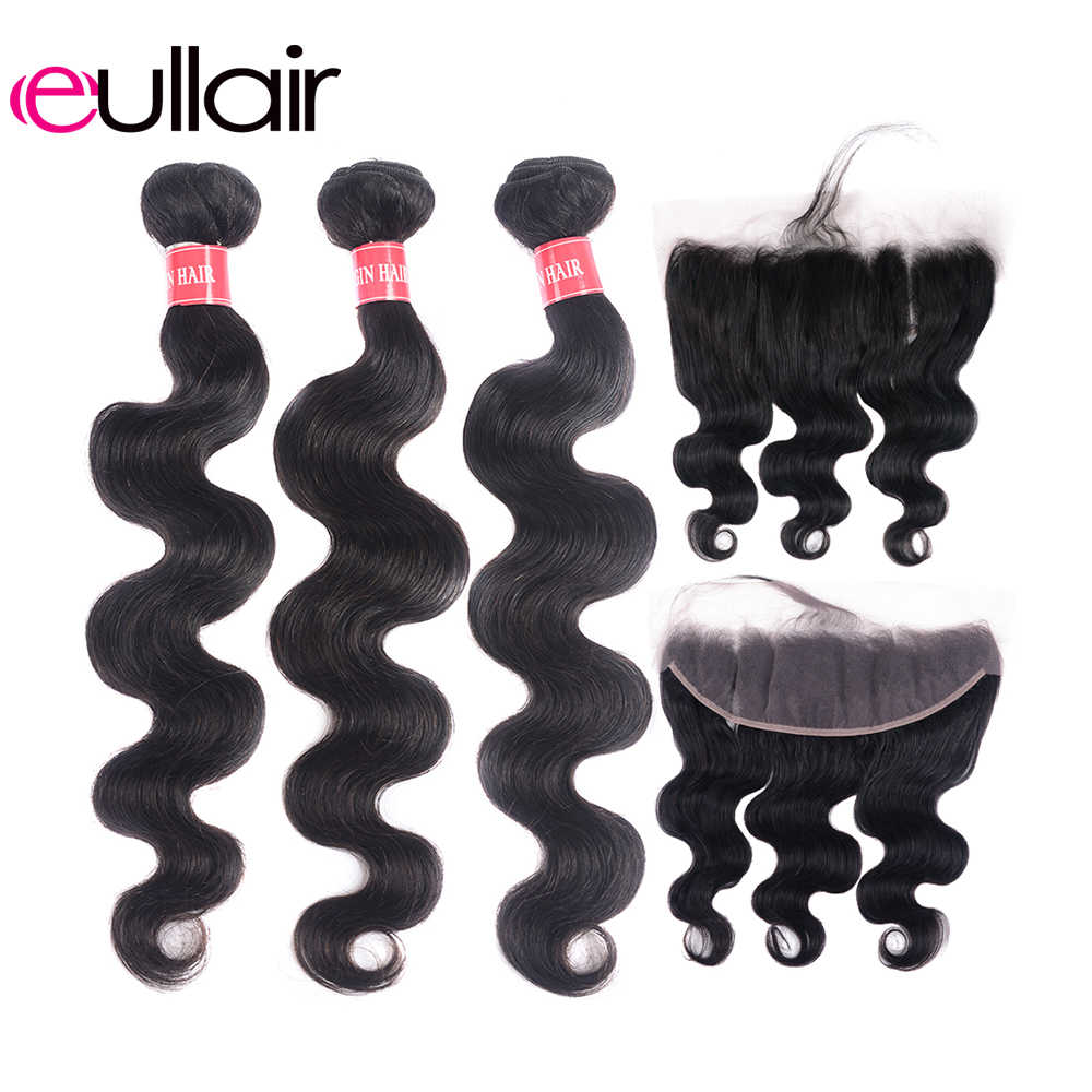 eullair Brazilian Bundles With Frontal Body Wave Remy Human Hair Bundles With Frontal 3/4 PCS With 13*4 Lace Frontal Deal