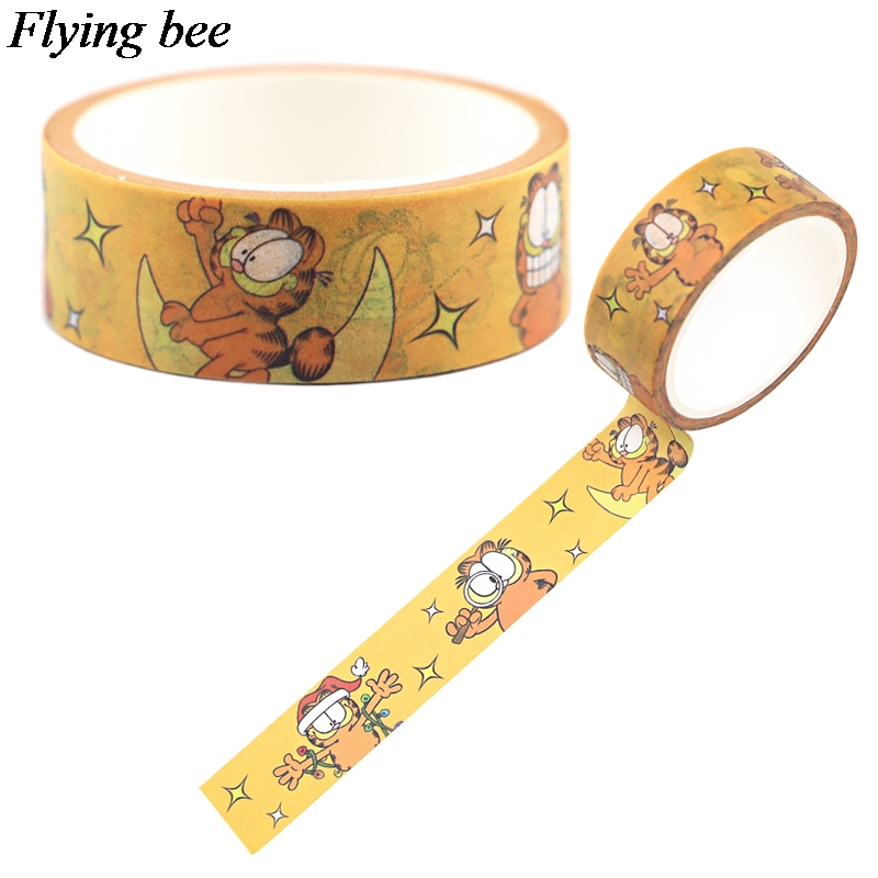 Flyingbee 15mmX5m Funny Cat Washi Tape Paper DIY Decorative Adhesive Tape Stationery Creative Masking Tapes Supplies X0689