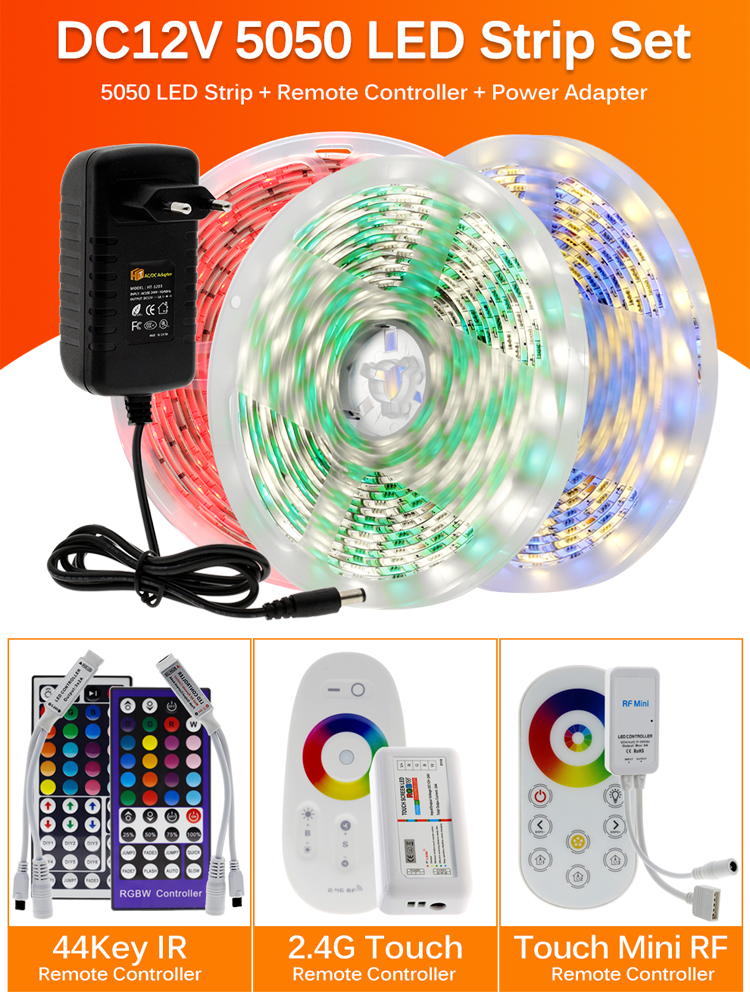 RGB Color Led-Light-Tape Power-Adapter Remote-Controller 5050 Flexible DC12V Rgbw/rgbww