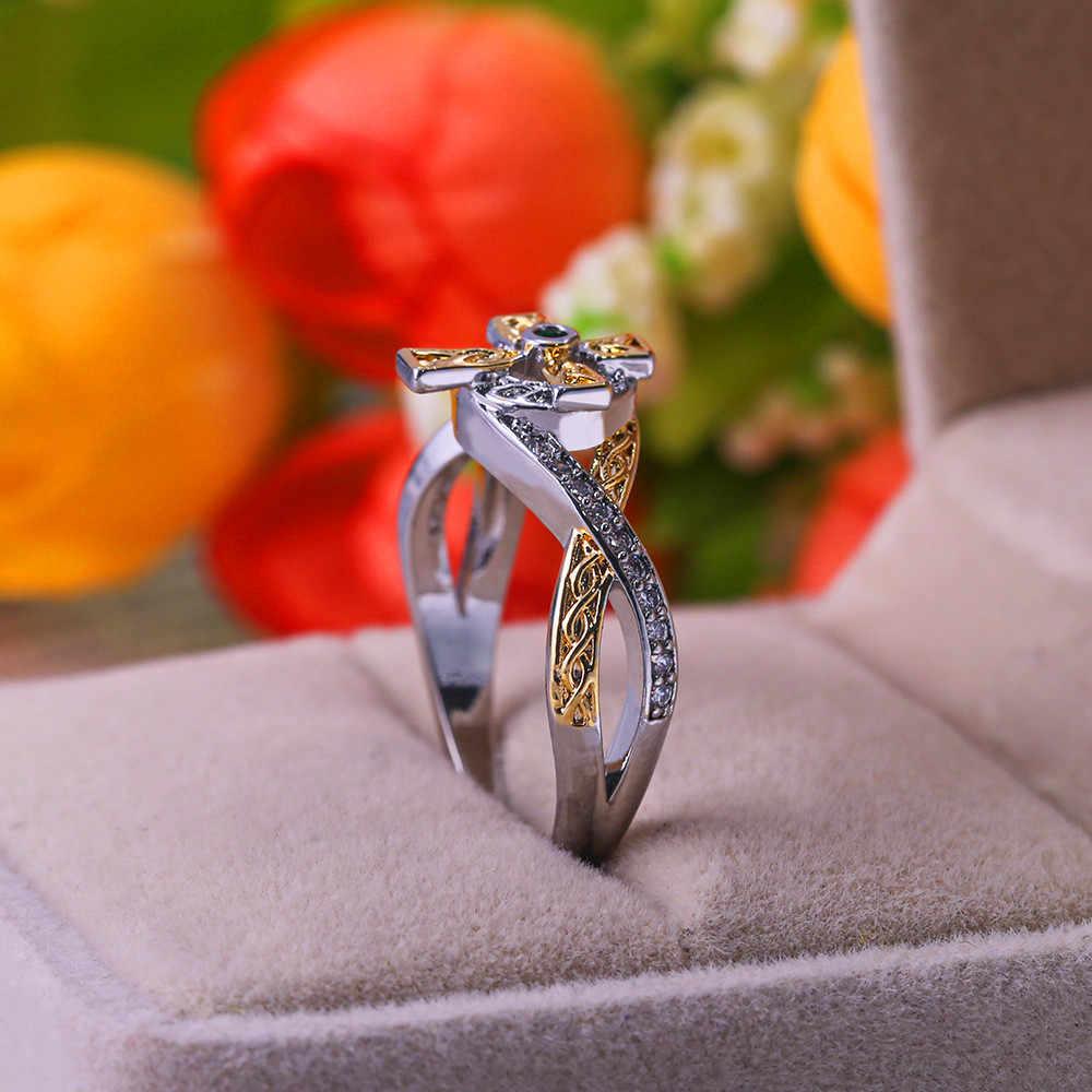 หญิงคลาสสิกขนาดเล็กสีเขียว Zircon แหวนแฟชั่นเงินสีเหลืองทองสีงานแต่งงานแหวน Creative หมั้นแหวน