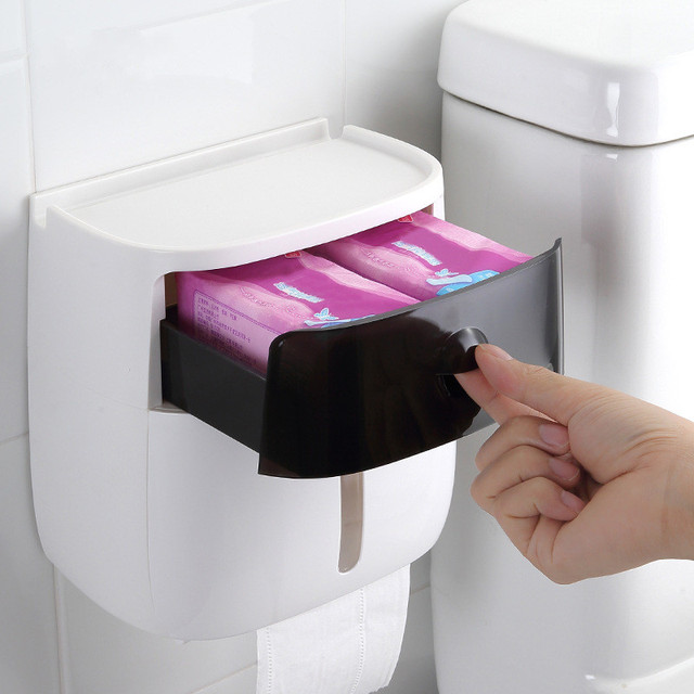 Waterproof Wall Mount Toilet Paper Holder Shelf Toilet Paper Tray Roll Paper Tube Storage Box Creative Tray Tissue Box Home 2