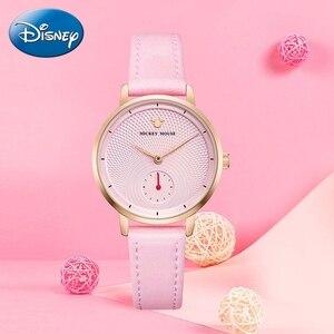 Image 1 - 2020 New Luxury Womens Fashion Trendy Wristwatch Female Disney Quartz Watch Leather Woman Watches Lady Girls Gift Mickey Clock