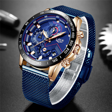 Fashion Mens Watch LIGE Brand Luxury Mesh Steel Blue Quartz Casual Sport Waterproof Chronograph Relogio Masculino+Box