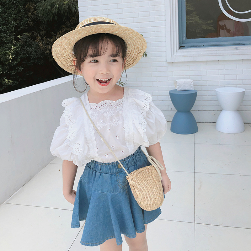 Summer new girl's suit girl's Princess lace top and denim skirt embroidered two-piece set of 2-8-year-old girl's clothing