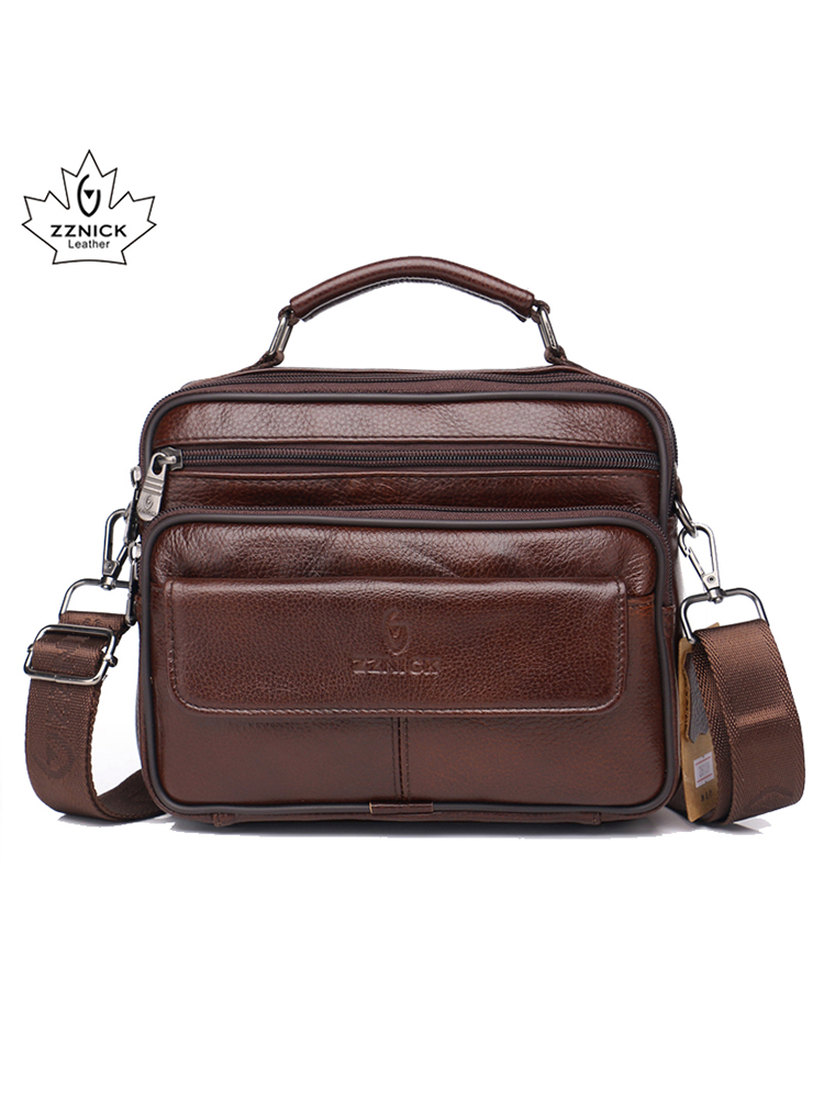ZZNICK Men Bag Handbags Messenger-Bags Flap-Crossbody-Bag Small Genuine-Cowhide-Leather