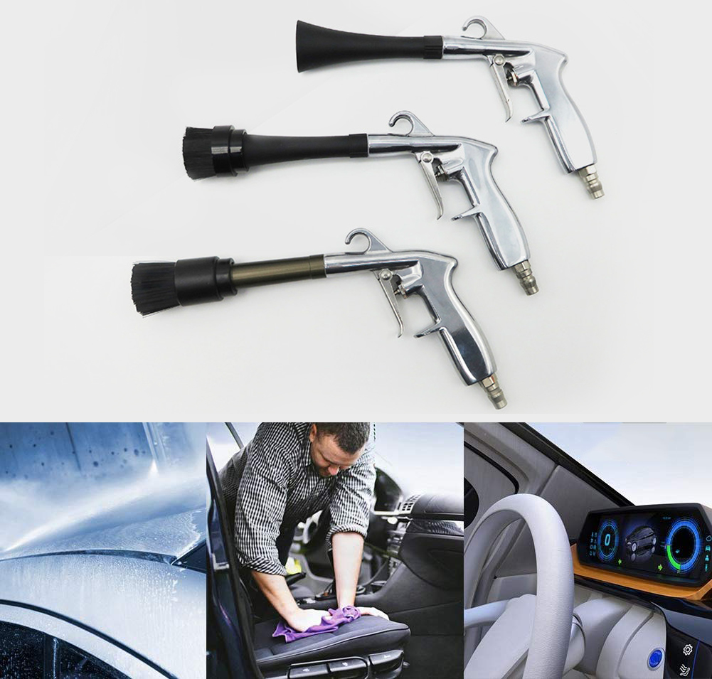 Car Wash Cleaning Gun For Pressure Washer Interior Cleaning Machine Blowing Dust Deep Cleaning Gun With Brush High Pressure