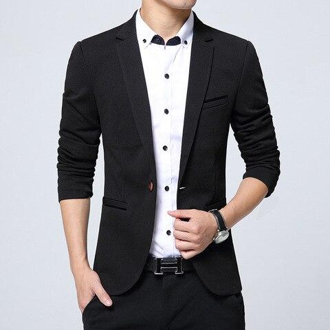 Plus Size 2019 Spring Autumn Luxury Men Blazer Fashion Casual Business Cotton Slim Fit Suit Jacket Male Blazer Masculino M-5XL Multan