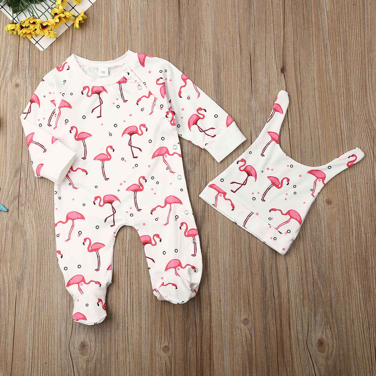 0-12M newborn baby Footies jumpsuit Comfortable cotton long sleeve cartoon flamingo print playsuit infant clothes