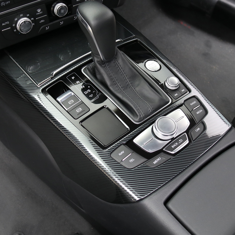 Car Styling Console Gear Shift Panel Frame Cover Trim Strips For Audi A6 C7 2012-2018 Interior Accessories Carbon Fiber Stickers