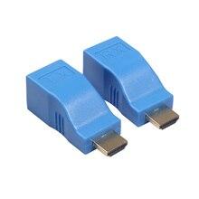 1 пара HDMI удлинитель к RJ45 LAN Сетевой удлинитель передатчик приемник TX RX Cat5e CAT6 Ethernet кабель V1.4 30 м 4 к HD tv 1080P