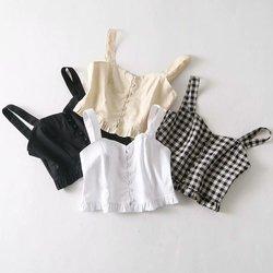 Укороченный топ с рюшами, винтажный Женский Короткий Повседневный Топ на бретельках, сексуальные рубашки, женские летние топы, уличная одеж...