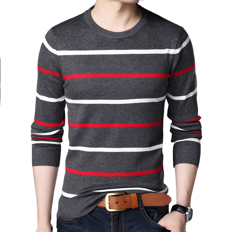 Men's Sweater Autumn New Cotton Round Neck Long-Sleeved Slim Stripe Knit Sweaters