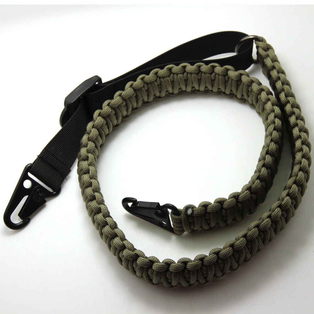 Tactical Paracord Rifle Sling Adjustable Wide Gun Strap Belt With 2pcs HK Clips