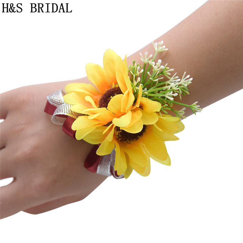 Sunflower Wrist Corsage Bridesmaid Sisters Hand Flowers Artificial Wrist Flowers For Wedding Dancing Party Decor Bridal Prom