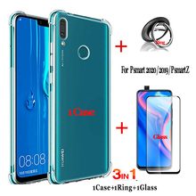 Crystal clear case for huawei p smart 2020 phone case+tempered glass+Metal Ring ,Shockproof case p smart z p smart 2019/2020 корпус corsair crystal series 680x rgb cc 9011168 ww mid tower tempered glass smart case black