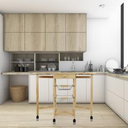 Kolor drewna 91*37*75cm trójwarstwowa składana półka wielowarstwowa zdejmowana z kółkami uchwyt kuchenny do przechowywania HWC