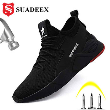 SUADEEX Work Safety Shoes Breathable Mesh Construction Men Steel Toe Sneakers Anti-Smashing Puncture Proof Security Boots 36-48 suadeex work safety shoes breathable mesh construction men steel toe sneakers anti smashing puncture proof security boots 36 48
