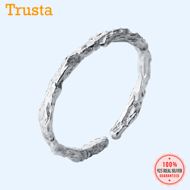 Trustdavis 100% 925 Sterling Silver Sweet Dry Twigs Cocktail Opening Finger Ring For Women Fashion Silver 925 Jewelry Ring DA427