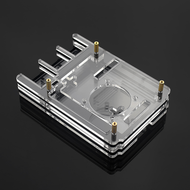 Clear Acrylic Case Enclosure Box with Cooling Fan for Raspberry Pi 4 Model B HOT