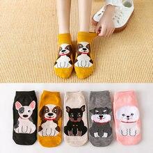 Новые женские носки 5 пар/лот милые собаки кошки носки-башмачки Мультяшные короткие носки для женщин корейский стиль девушки 2020