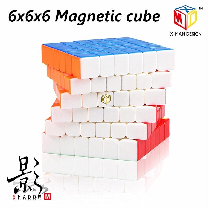 Qiyi X-MAN Shadow/Shadow M 6x6x6 Magnetic Magic Cube Qiyi 6x6 Magnetic Speed Cube Shadow M 6x6 Cubo Magico Magnetic 6x6 Cube