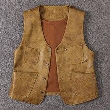 Новинка, мужской осенний кожаный жилет, короткая юбка, куртка без рукавов, роскошная кожаная куртка с карманами, простой жилет на пуговицах