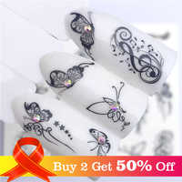 LCJ 1 PC Hot Nail Sticker Black Butterfly Note Beauty Water Transfer Stamping Nail Art Tips Nail Decor Manicure Decal