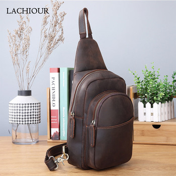 Original Men Crazy Horse Leather Chest Packs Male Real Leather Sling Messenger Bag Design Travel Daypack Male Crossbody Bag new design male real cowhide leather casual travel bag school backpack daypack for men 2107