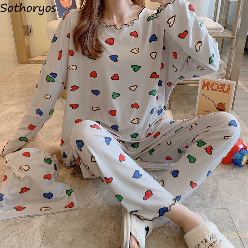 Pajama Sets Women O-neck Long Sleeve Printed Leisure Breathable Womens Korean Style Kawaii Elegant Sleepwear Home Clothing New