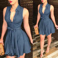2019 neue Marke Frauen Kleid Sexy V Neck Shirt Sleeveless Club Kleid Party-Denim Casual Gürtel Bowknot Jeans Verband Bodycon kleid