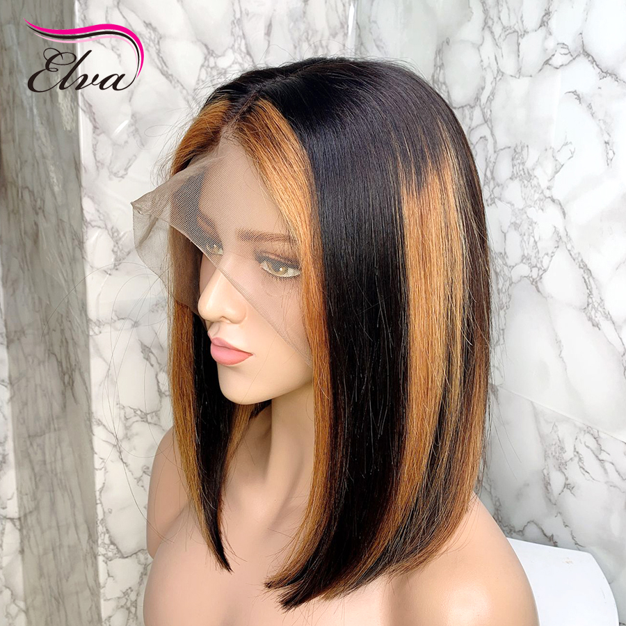 Elva Ombre Blonde Short Bob 13x6 Lace Front Human Hair Wigs With Baby Hair Brazilian Remy Hair Bleached Knots For Black Women