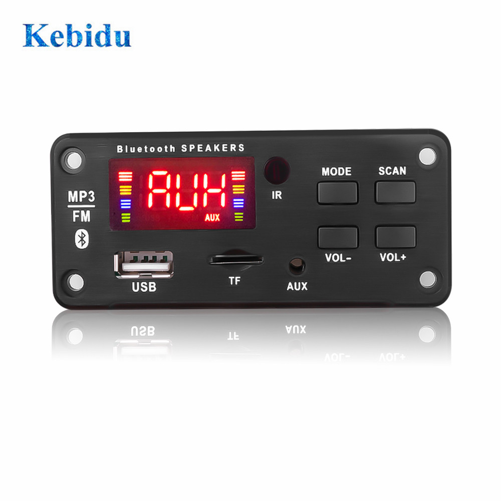 KEBIDU 12V MP3 WMA Wireless Bluetooth 5.0 Decoder Board Car Audio Module USB FM TF Radio AUX input Support Recording 1