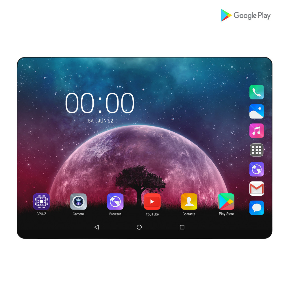 2020 New 6G+128GB Tablet Pc 10.1 Inch Android 9.0 Google Play 4G Phone Call Tablets WiFi Bluetooth GPS 2.5D Tempered Glass