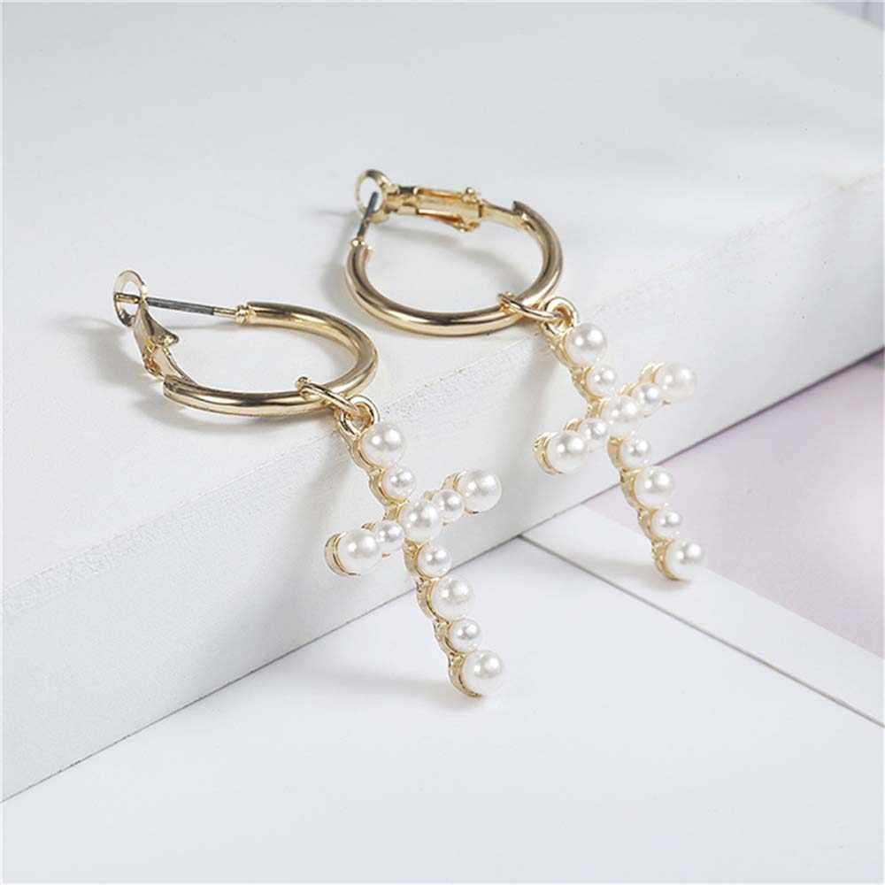 1 Pasang Manis Mutiara Imitasi Menjuntai Anting-Anting Emas Warna Tidak Teratur Lingkaran Drop Anting-Anting Perhiasan Pesta Pernikahan Wanita Hadiah