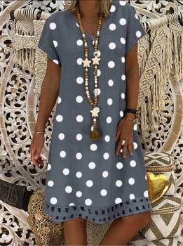 plus size s-5xl DOT cotton linen women dresses casual loose lady dress summer clothes original brand design