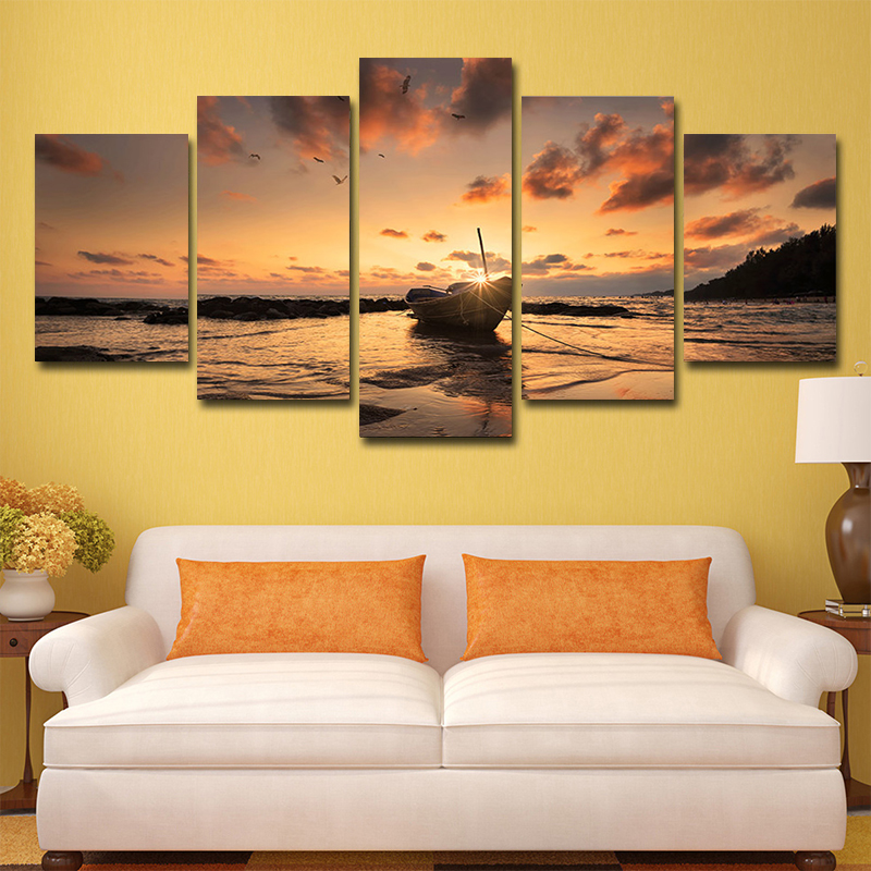 5 Pieces of Modern Style Boat Sunset Seascape HD Printing Painting Poster Printing Wall Picture Living Room Decoration Frameless