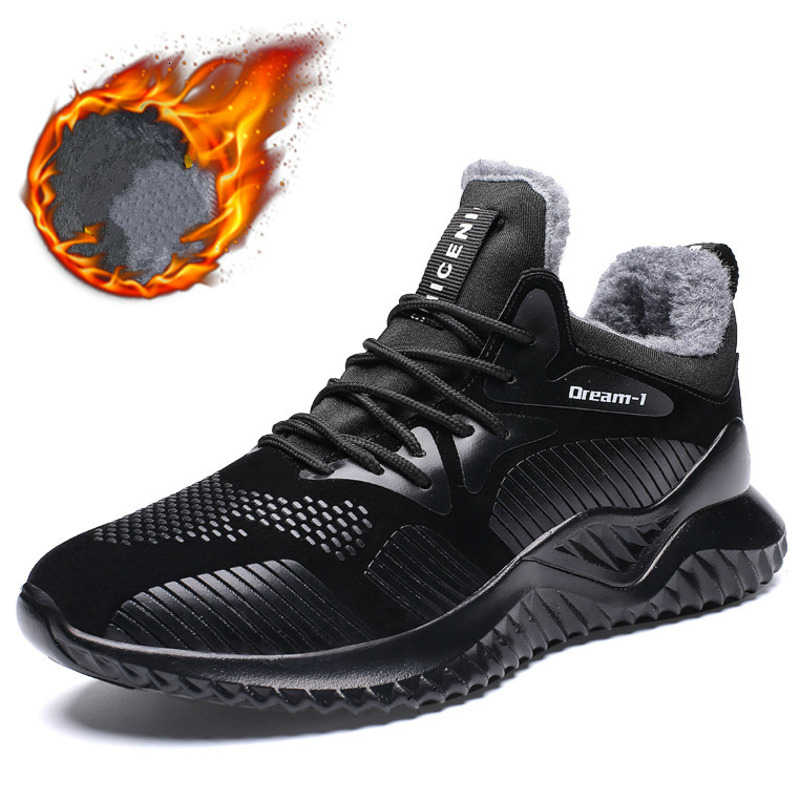 Affinest Man Sneakers Winter Outdoor Sport Loopschoenen Warme Bont Sneakers Antislip Waterdichte Pu Lederen Trainers Maat 39 -46